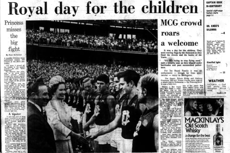 The Age from April 6, 1970. The day The Queen watched the footy at the MCG.