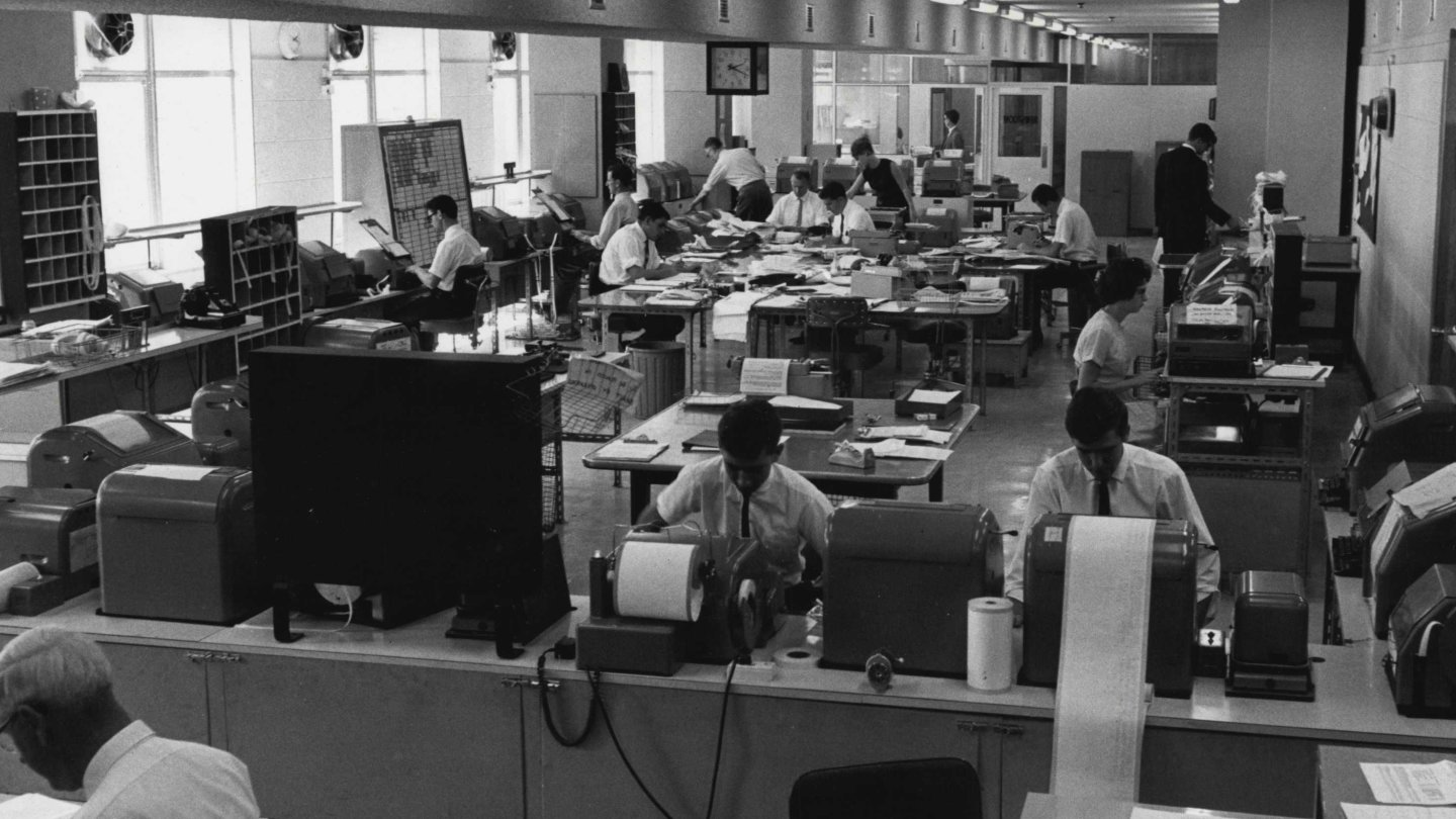 AAP newsroom in 1964. Many journalist jobs have disappeared recently but that has not prevented investors in seeing value in the news service.