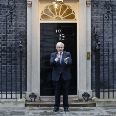 Prime Minister Boris Johnson takes part in the weekly 'Clap for Carers' outside Downing Street.