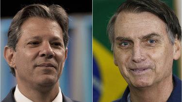 Fernando Haddad, left, has accused Jair Bolsonaro, right, defaming him via fake news.