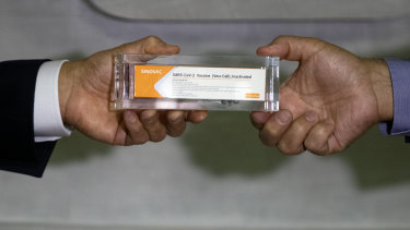 A box of an experimental COVID-19 vaccine that is being tested in Brazil in partnership with China's pharmaceutical company Sinovac.