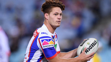 Ball player: Ponga will run Newcastle's attack with Mitch Pearce this year.