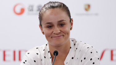 Sign of contentment: Ashleigh Barty in China.