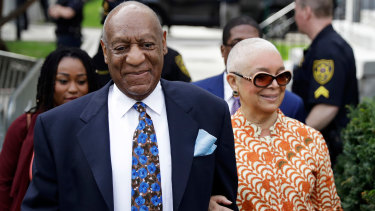 Bill Cosby arrives at court last month with his wife, Camille.