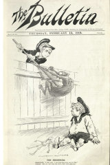 The Spanish flu border stoush between Victoria and NSW was captured in an illustration by Norman Lindsay on the cover of the February 13, 1919 edition of The Bulletin.