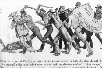 A Sydney newspaper's 1935 depiction of an 1860 riot at Lambing Flat.