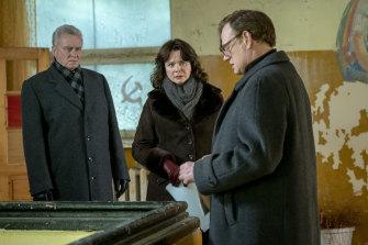 Emily Watson in the mini-series Chernobyl with Stellan Skarsgard and Jared Harris.