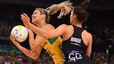 Getting the right balance: Australia's Gretel Tippett under pressure from Karin Burger during the Constellation Cup international Test between Australia and New Zealand.