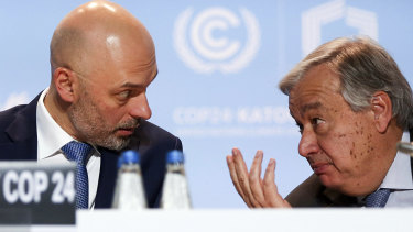 No cop out: UN Secretary-General Antonio Guterres, right, talks to UN climate conference president, Poland's Deputy Environment Minister Michal Kurtyka, after flying back to the event to urge more effort from the negotiators.