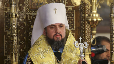 """Metropolitan Epiphanius, the head of the independent Ukrainian Orthodox Church attends a religion service during a meeting to sign """"Tomos"""" decree of autocephaly for the Ukrainian church at the Patriarchal Church of St. George in Istanbul, Turkey, on Saturday."""