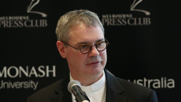 Melbourne's new Catholic archbishop Peter Comensoli addresses the Melbourne Press Club