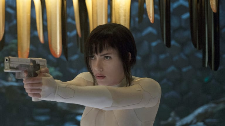 Scarlett Johansson appears in a scene from Ghost in the Shell.