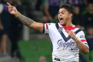 Latrell Mitchell breaks the deadlock for the Roosters.