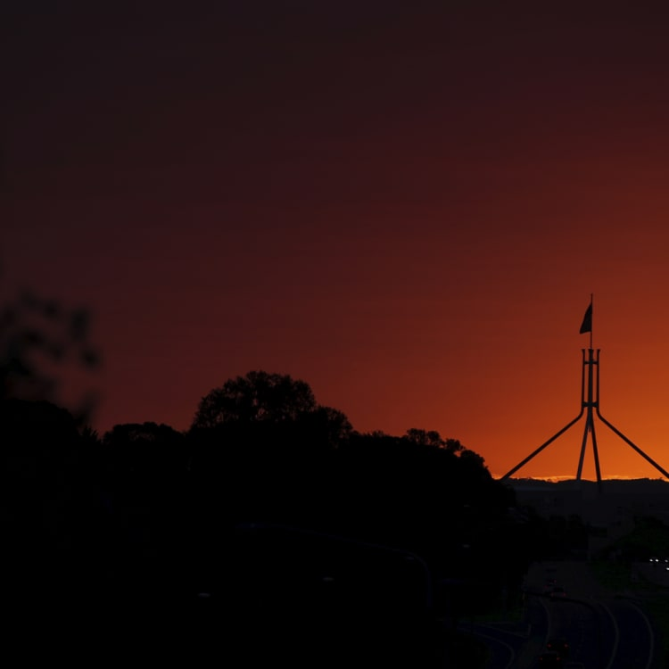 A dramatic sunrise sweeps over Canberra ahead of a dramatic day in national politics.