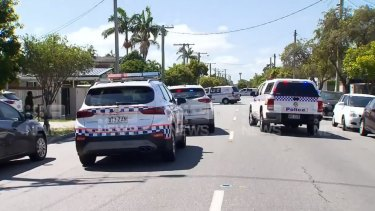 The scene in Sunshine Parade in the Gold Coast suburb of Miami on Thursday afternoon.