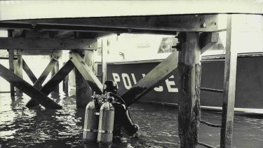 Police divers in 1972.
