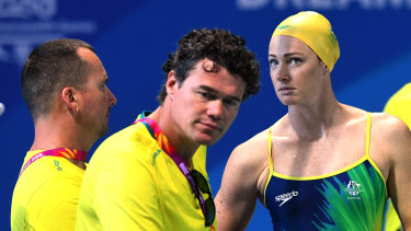 Formidable: Australian head coach Jacco Verhaeren with Cate Campbell. The pair will be pleased with both individual and team efforts in the pool in Tokyo.