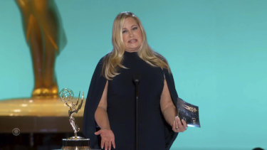 Jennifer Coolidge presents the award for outstanding lead actor in a comedy series during the Emmy Awards.