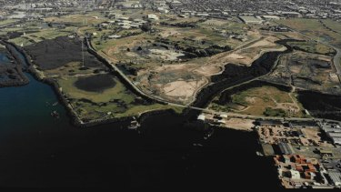 The former industrial site at Homebush Bay in 1995.
