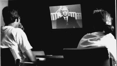 Australians watch the great debate of 1990.