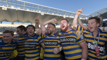 Sydney University celebrate another Shute Shield title last year.