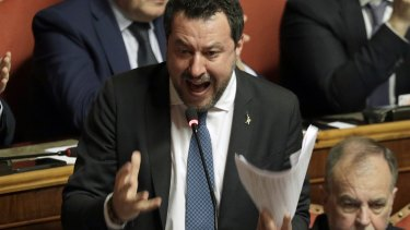 Opposition populist leader Matteo Salvini speaks at the end of the debate at the Italian Senate on whether to allow him to be prosecuted. He asked to have his immunity lifted.