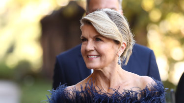 Former foreign minister Julie Bishop attends the state funeral for Carla Zampatti.