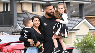Panthers player Josh Mansour, wife Daniella and children Andre, left, and Siana.