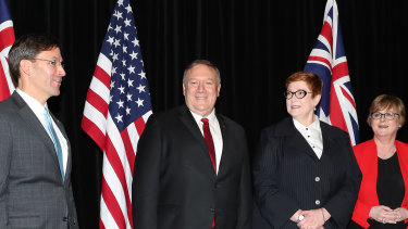 The US Defence Secretary, Mark Esper, the US Secretary of State, Mike Pompeo, Foreign Affairs Minister Marise Payne and Defence Minister Linda Reynolds following talks in Sydney at the weekend.