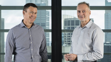 86 400 chairman Anthony Thomson (left) and chief executive Robert Bell say the acquisition by NAB will help the neobank grow much faster.