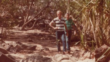 Ken Shadie with Paul Hogan in Kakadu. They were looking for film locations for Crocodile Dundee.