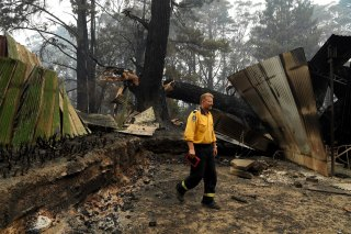 Wingello RFS Captain Mark Wilson checks the fire damage in the backyard of a home his brigade managed to save.