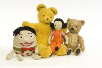 Big Ted (second from left) with Play School friends Humpty, Jemima and Little Ted.