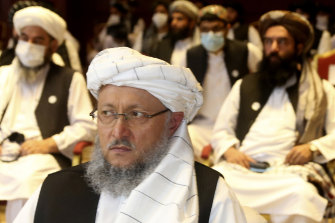 Deputy Head of Political Office of the Taliban Abdul Salam Hanafi, attends the opening session of the peace talks between the Afghan government and the Taliban in Doha, Qatar, on Saturday.
