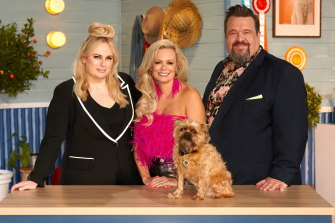 Pooch Perfect host Rebel Wilson with judges and professional dog groomers Amber Lewin and Colin Taylor.