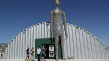 People visit the Alien Research Centre in Hiko, Nevada, near Area 51.