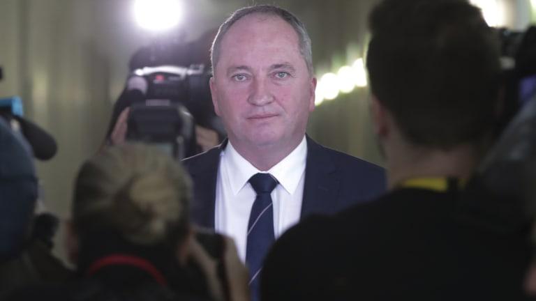 Barnaby Joyce facing the media on Thursday.