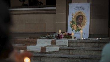 Aishwarya candlelight vigil Parliament House. Pictures Nancye Miles-Tweedie.