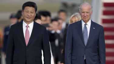 Xi Jinping and Joe Biden in 2015.
