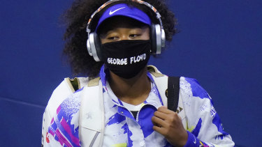Osaka wears a mask featuring the name George Floyd at the US Open.