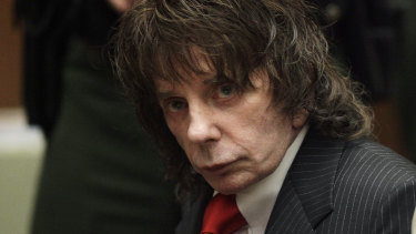 Music producer Phil Spector during his sentencing for second-degree murder in Los Angeles in May 2009.