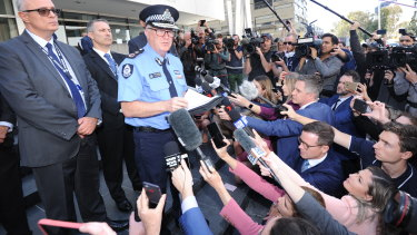 WA Police Commissioner Chris Dawson addressing the media after the verdict.