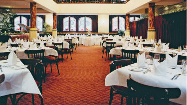 The two level Corinthian room at the Sydney's City Tattersalls Club.