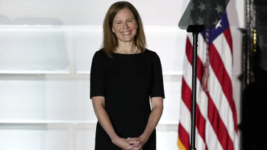 Amy Coney Barrett at the White House on Monday night (US time).