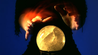 Mystic Gladys with her crystal ball.