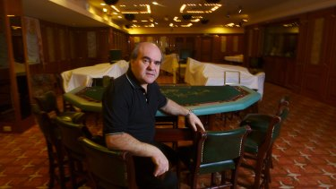 Christmas Island Resort manager Michael Asims in its old high rollers room.