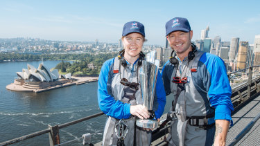 Former Australian captains Alex Blackwell and Michael Clarke atop the Sydney Harbour Bridge on Tuesday morning.