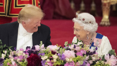 US President Donald Trump and the Queen laugh during the State Banquet at Buckingham Palace.