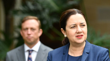 Queensland Premier Annastacia Palaszczuk and her deputy, Health Minister Steven Miles, in Brisbane announcing the Blackwater death.