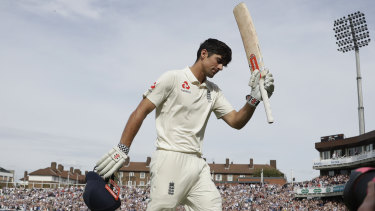 Final dismissal: Alastair Cook acknowledges the crowd following his century at The Oval.